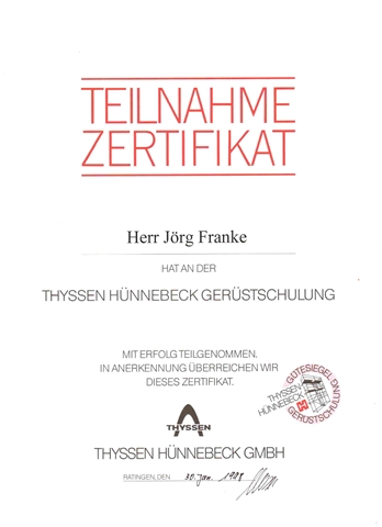 Hünnebeck Gerüstbauzertifikat Jörg