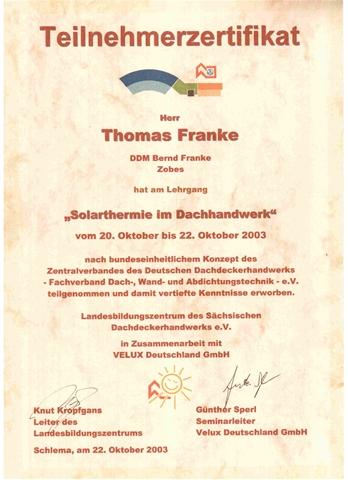Zertifikat des Landesinnungsverbandes der Dachdecker für Solarthermie_Thomas Franke