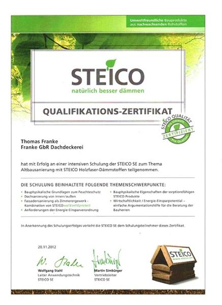 Steico Holzweichfaserdämmung_Zertifikat Thomas Franke