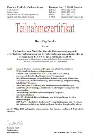 Schulung über Verkehrssicherung_Jörg Franke