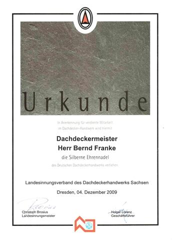 silberne Ehrennadel für Bernd Franke_Urkunde